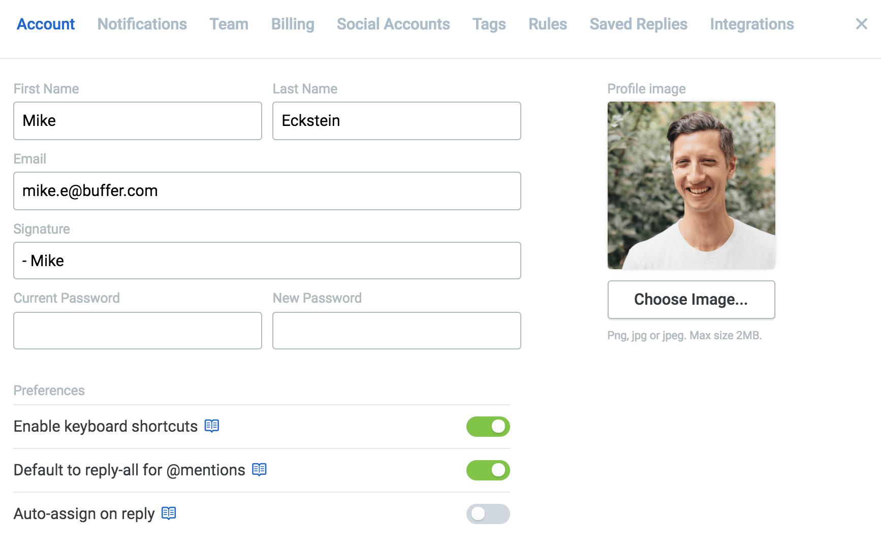 screenshot of Reply settings