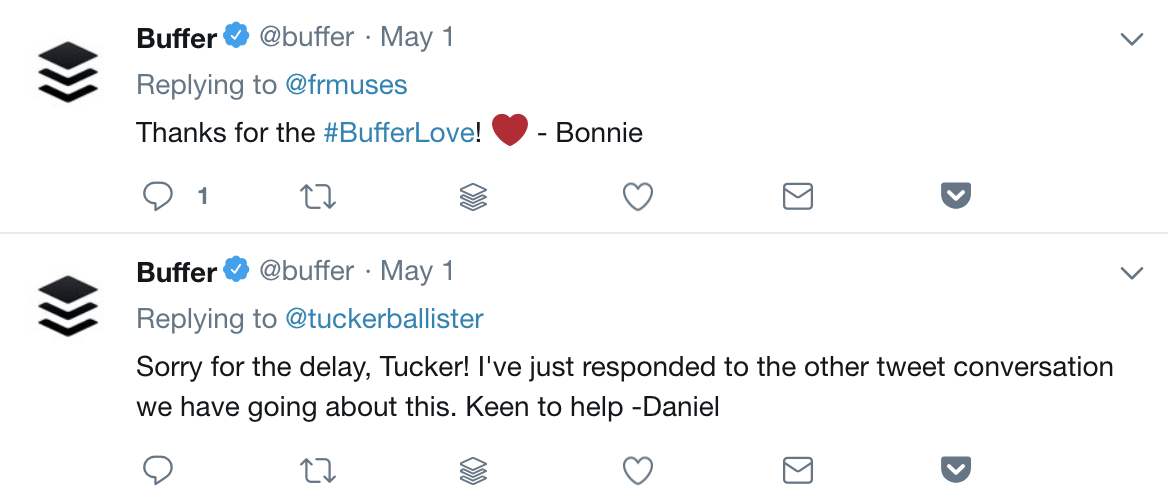 A twitter reply