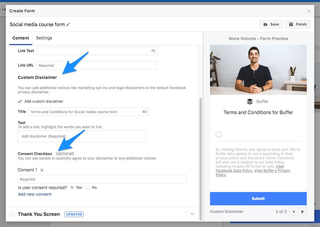 Facebook lead ad form