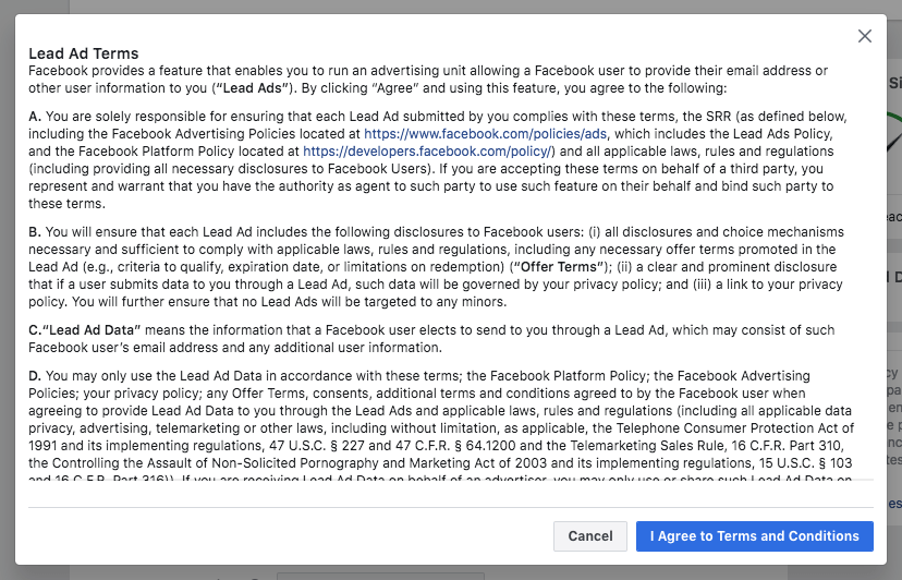 Facebook lead ads terms